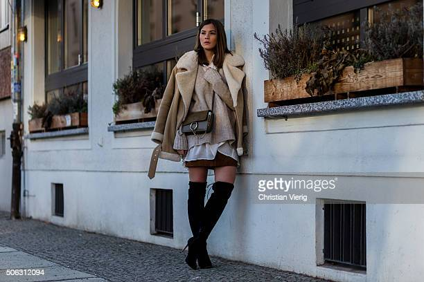 Fashion blogger Nina Schwichtenberg of Fashiioncarpet wearing Zara jacket Edited sweater HM blouse Pepe Jeans skirt Chloe bag and River Island...
