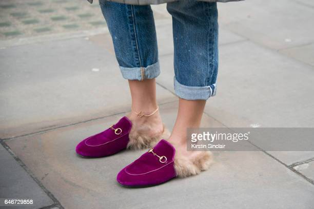 Fashion blogger Nina Suess wears Levi's jeans and Gucci shoes on day 2 of London Womens Fashion Week Autumn/Winter 2017 on February 18 2017 in London...