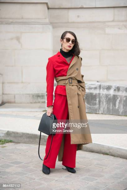 fashion blogger Norelle Weng from Simplyminimalist wears a Zara trench coat suit and shoes Foi bag Fakeme sunglasses day 2 of Paris Womens Fashion...