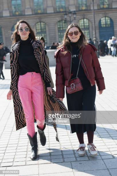 Fashion blogger of stelouchebabouche Estelle Pigault wears a Heimstone coat Fendi bag Miu Miu sunglasses and vintage trousers and boots with Fashion...