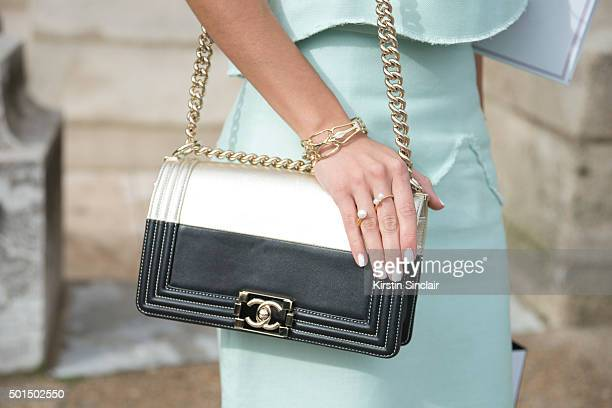 Fashion Blogger Pam Hetlinger wears The Kayys top and skirt and Chanel bag on day 8 during Paris Fashion Week Spring/Summer 2016/17 on October 6 2015...