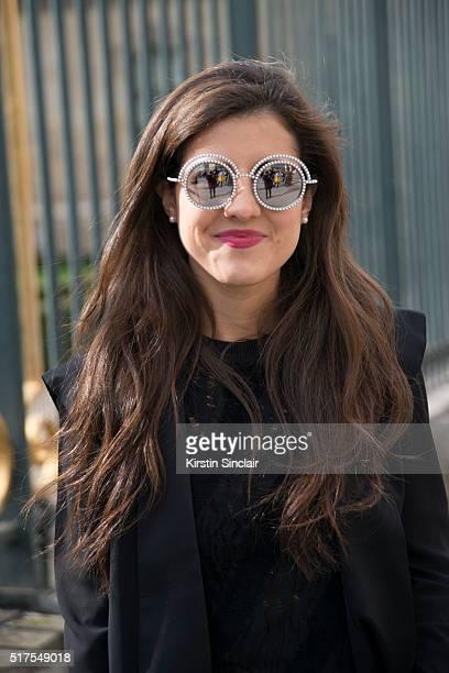 Fashion Blogger Pamela Allier wears a Louis Vuitton top Lorena Saravia jacket and Chanel sunglasses on day 4 during Paris Fashion Week Autumn/Winter...