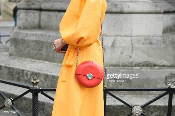 Fashion Blogger Pandora Sykes wears a Rejina Pyo dress Chanel bag day 4 of London Womens Fashion Week Spring/Summer 2016 on September 19 2016 in...