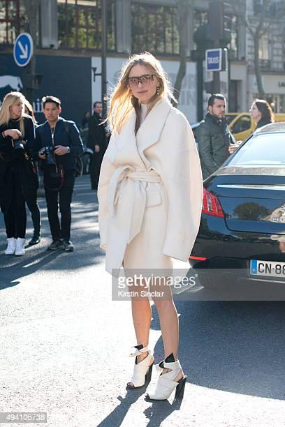 Fashion Blogger Pernille Teisbaek on day 3 during Paris Fashion Week Spring/Summer 2016/17 on October 1 2015 in London England