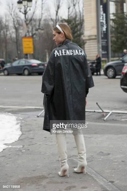 Fashion blogger Pernille Teisbaek wears a Balenciaga coat and Gianvito Rossi boots day 4 of Paris Womens Fashion Week Spring/Summer 2018 on March 1...
