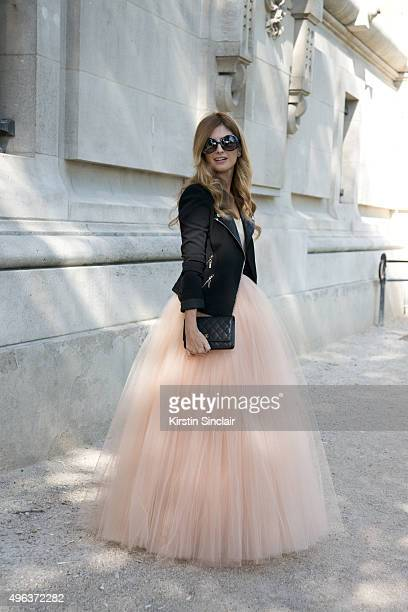 Fashion Blogger Rebeca Labara wears a Bgo and Me top and skirt Chanel bag and Unkwor jacket on day 5 during Paris Fashion Week Spring/Summer 2016/17...