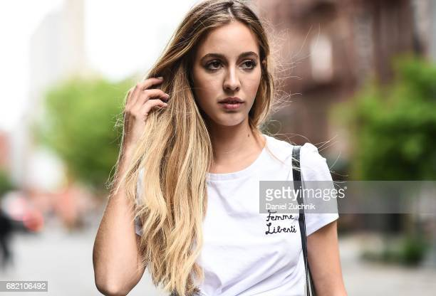 Fashion Blogger Rosa Crespo is seen in Noho wearing an Iorane World tshirt on May 11 2017 in New York City
