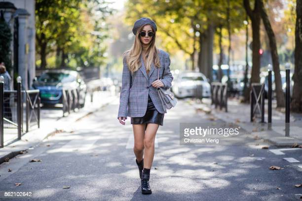 Fashion Blogger Rosa Crespo wearing grey checked blazer Faith Connexion black leather skirt Sunset Spring Marc Fischer boots grey Salar Milano bag...
