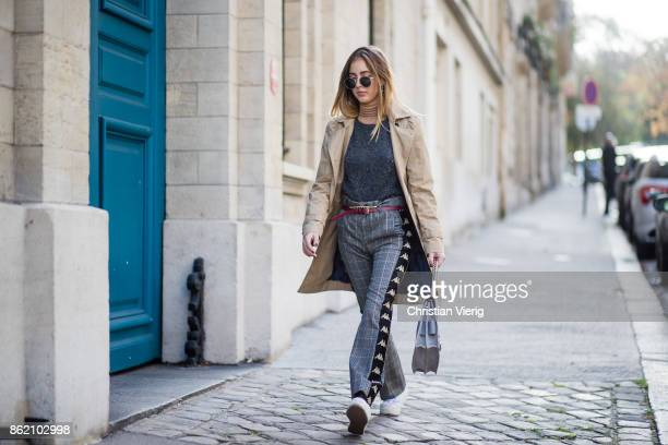 Fashion Blogger Rosa Crespo wearing white sneakers Superga grey checked Faith Connexion pants Salar Milano bag grey Iro cashmere knit turtleneck All...
