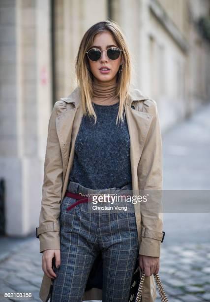 Fashion Blogger Rosa Crespo wearing white sneakers Superga grey checked Faith Connexion pants Salar Milano bag grey Iro cashmere knit turtleneck All...