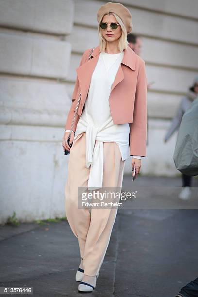 Fashion blogger Samantha Angelo is seen wearing Chloe pants United shoes a Marlene Birger coat Dida sunglasses and a Dior bag after the Chloe show...