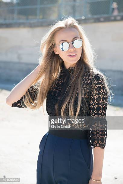 4152807e64424 Fashion Blogger Sandra Hagelstam wears a Self Portrait jumpsuit Rayban  sunglasses and Lapponia jewellery on day