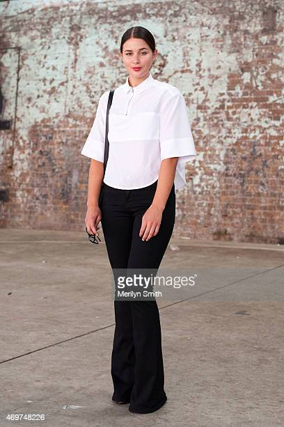 Fashion Blogger Sara Donaldson wears Frame jeans Josh Goot top Saint Laurent bag and Toni Bianco shoes at MercedesBenz Fashion Week Australia 2015 at...