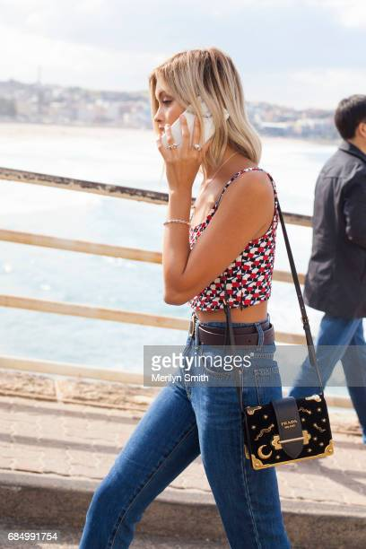 Fashion Blogger Sarah Ellen wearing a Prada top and bag and Nobody jeans during MercedesBenz Fashion Week Resort 18 Collections at Carriageworks on...