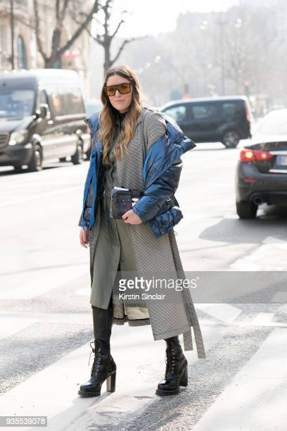 Fashion blogger Sofia Lascurain wears Louis Vuitton shoes and bag Tommy Hilfiger sunglasses Zara puffer jacket HM coat Lacoste dress day 3 of Paris...