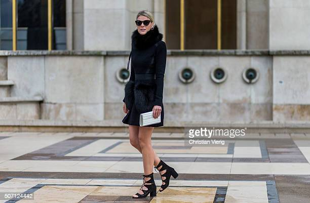 Fashion blogger Sofie Valkiers outside Elie Saab during the Paris Fashion Week Haute Couture Spring/Summer 2016 on January 27 2016 in Paris France