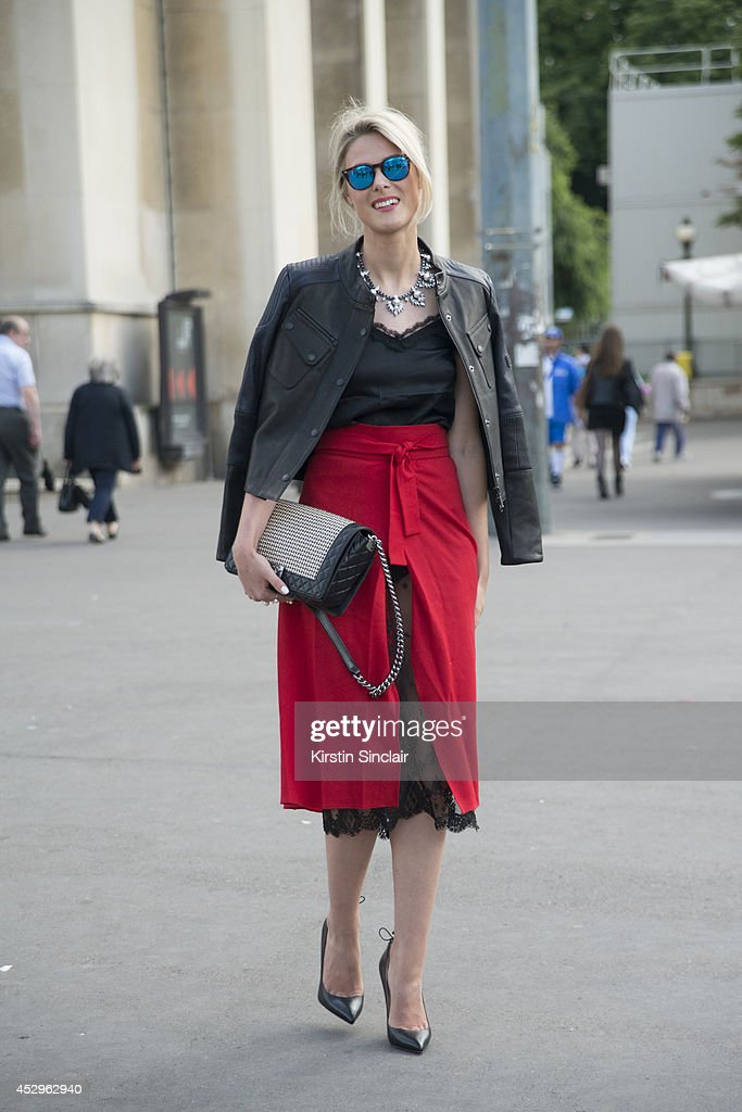 Fashion Blogger Sofie Valkiers wearing a Chanel bag, Christian Loboutin shoes, Barbour jacket, Spektre sunglasses and Kalmoanouch top and skirt day 3 of Paris Haute Couture Fashion Week Autumn/Winter 2014, on July 8, 2014 in Paris, France.