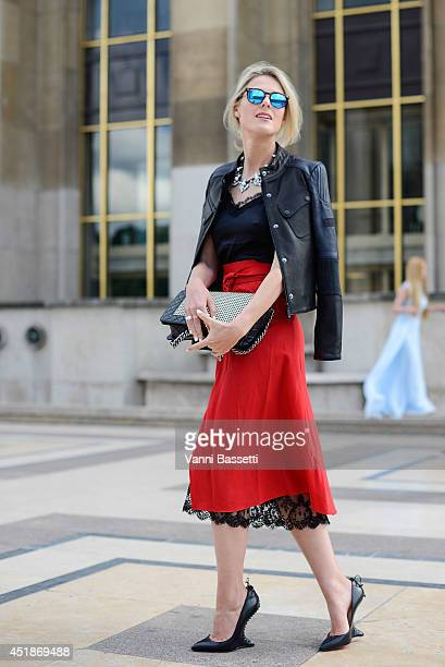 Fashion blogger Sofie Valkiers wears a Barbour jacket Kalmanovich dress Louboutin shoes Chanel bag and Spektre sunglasses after Giorgio Armani Prive...