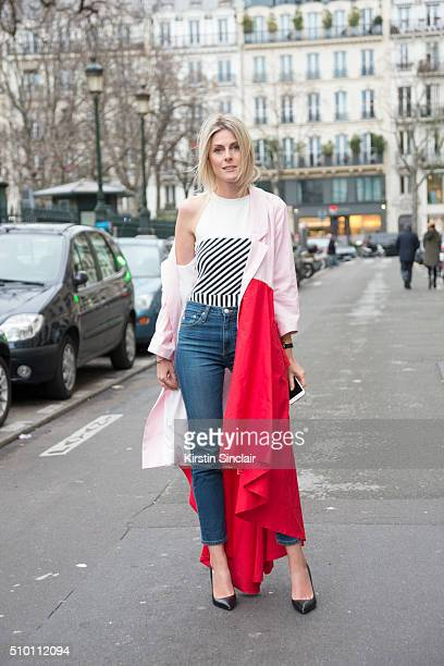 Fashion blogger Sofie Valkiers wears a Wimbruynooghe coat and top AG jeans and vintage shoes on day 4 of Paris Haute Couture Fashion Week...