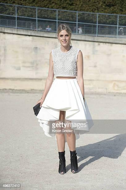 Fashion Blogger Sofie Valkiers wears an Ellie Saab shoes Clio bag and a Krikor Jabotian top and skirt on day 5 during Paris Fashion Week...