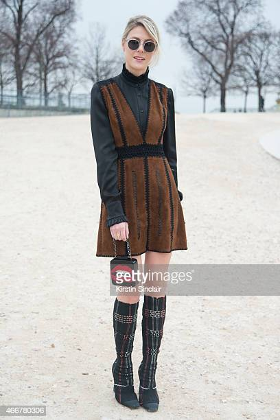 Fashion blogger Sofie Valkiers wears Dior boots on day 8 of Paris Collections Women on March 10 2015 in Paris France