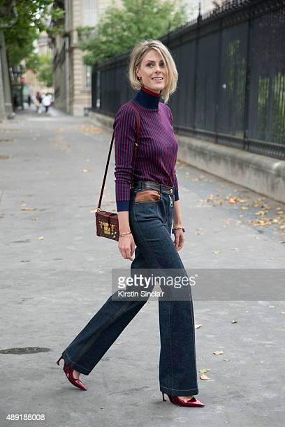 Fashion Blogger Sofie Valkiers wears Louis Vuitton jeans bag and top with Dior shoes on day 4 of Paris Fashion Week Haute Couture Autumn/Winter 2015...