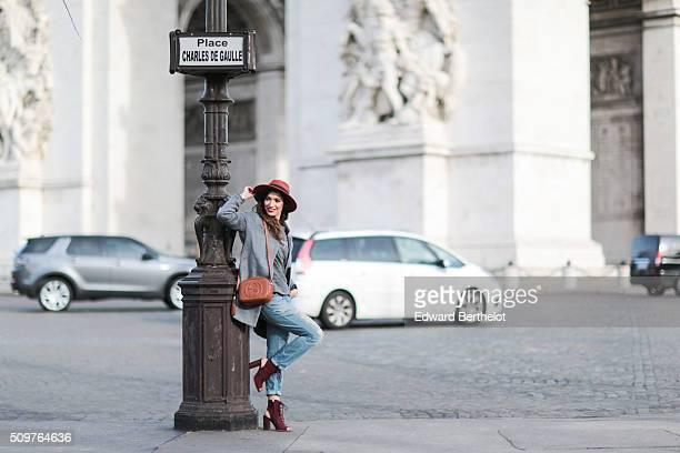 Fashion blogger Sofya Benzakour wearing a Pas Encore top Mango jeans Zara shoes a On Parle de Vous jacket a Pimkie hat and a Gucci bag during a...
