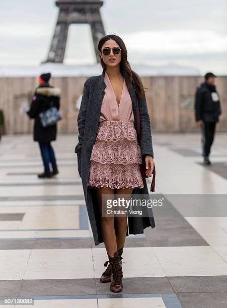Fashion blogger Soraya Bakhtiar wearing Mr Moudz outside Elie Saab during the Paris Fashion Week Haute Couture Spring/Summer 2016 on January 27 2016...