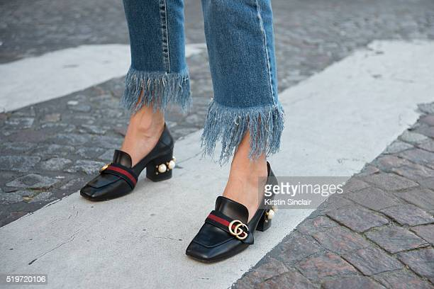 Fashion Blogger Soraya Bakhtiar with Gucci shoes and MSGM jeans on day 6 during Paris Fashion Week Autumn/Winter 2016/17 on March 6 2016 in Paris...