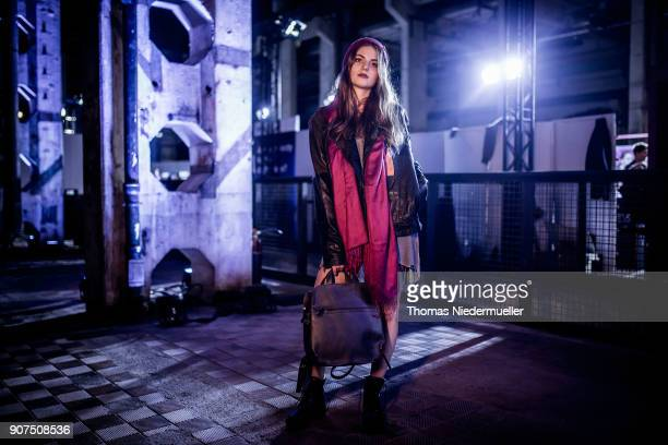 Fashion blogger Stefanie Panholzer pose during the Greenshowroom Ethical Fashion Show Berlin at Kraftwerk Mitte on January 17 2018 in Berlin Germany