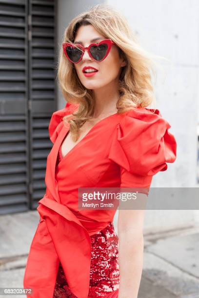 Fashion Blogger Tania Gesick is wearing a Kate Sylvester dress Kate Spade top and YSL sunglasses during MercedesBenz Fashion Week Resort 18...