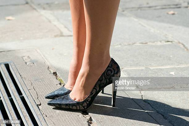 Fashion Blogger Thassia Naves wears Luiza Barcelos shoes on day 3 during Paris Fashion Week Spring/Summer 2016/17 on October 1 2015 in London England