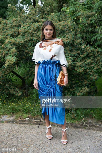 Fashion blogger Thássia Naves wears a Loewe top and Apartment 03 skirt on day 1 of Paris Haute Couture Fashion Week Autumn/Winter 2016 on July 3...