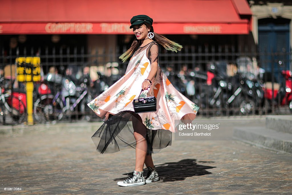 Fashion blogger Thythu is seen outside the Nehera show on September 27, 2016 in Paris, France.