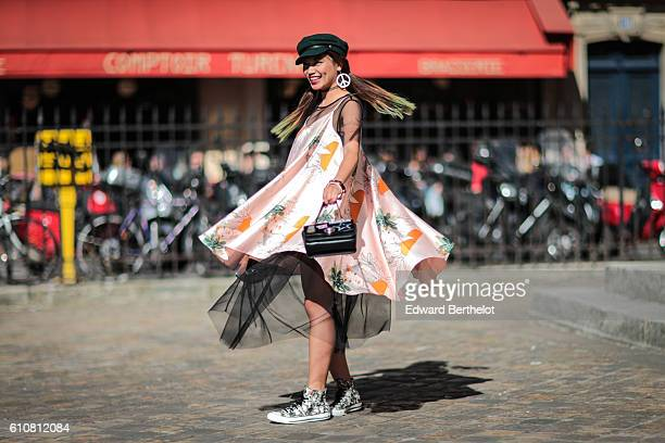 Fashion blogger Thythu is seen outside the Nehera show on September 27 2016 in Paris France