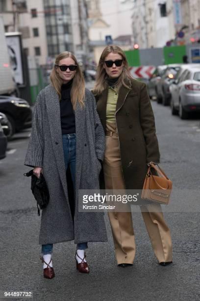 Fashion blogger Tine Andrea wears a Jacquemus top Weekday jeans House of Dagmar coat Ganni shoes Sonia Rykiel bag Balenciaga socks and Céline...