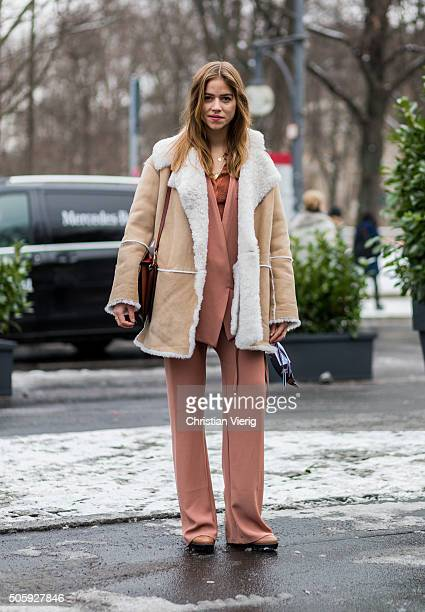 Fashion blogger Trine Kjaer of Trines Wardrobe wearing Malaikaraiss outside Dorothee Schumacher during the MercedesBenz Fashion Week Berlin...