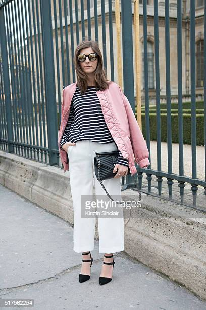 Fashion Blogger Valerie Husemann wears a Mango jacket Saint Laurent bag and Steve Madden shoes on day 4 during Paris Fashion Week Autumn/Winter...