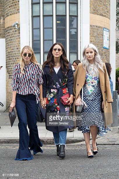 Fashion blogger Victoria Magrath wears a Peter Pilotto dress Malone Souliers shoes Maje coat and Anya Hindmarch bag Fashion blogger Tamara Stella...