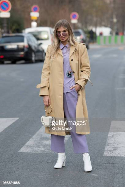 Fashion blogger Xenia Van Der Woodsen wears all Rochas with a Chloé bag and Dior sunglasses day 3 of Paris Womens Fashion Week Spring/Summer 2018 on...