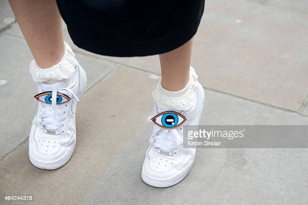 Fashion Blogger Yu Yu wears Nike shoes on day 3 of London Collections Women on February 22 2015 in London England