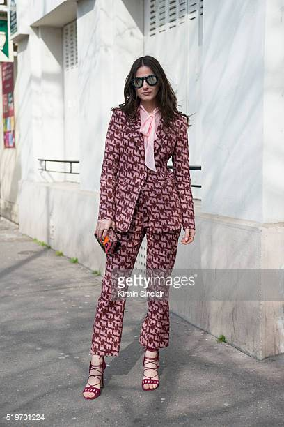 Fashion Blogger Zina Charkoplia wears Pinko suit shirt and Paula Cademartori shoes and bag on day 6 during Paris Fashion Week Autumn/Winter 2016/17...