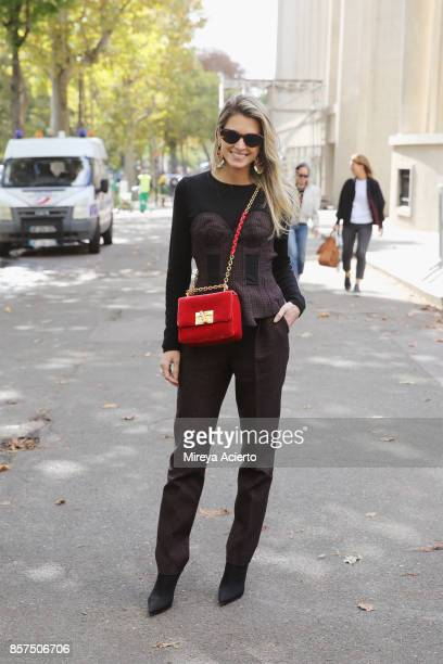 Fashion blogger/creative director Helena Bordon seen during Paris Fashion Week Womenswear Spring/Summer 2018 on October 3 2017 in Paris France