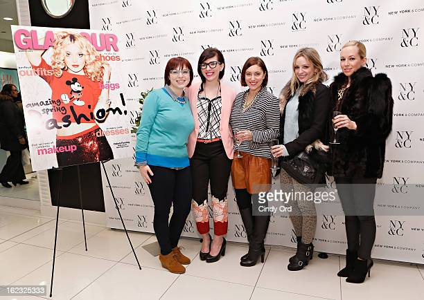 Fashion bloggers Alison Jimenez Keiko Lynn Christine Cameron Sonia Evers and Helena Glazer attend the NY Co Pant Event on February 21 2013 in New...