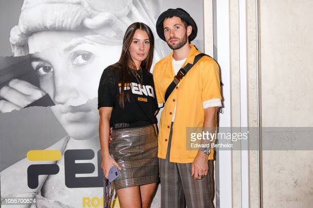Fashion bloggers from 'J'aime Tout Chez Toi' Alice Barbier and JeanSebastien Rocques are seen outside the Fendi cocktail #Fendimania on October 16...