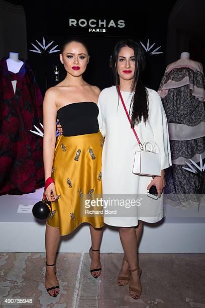 Fashion Bloggers Kristina Bazan and Fiona Zanetti attend the Rochas 90th anniversary cocktail as part of the Paris Fashion Week Womenswear...