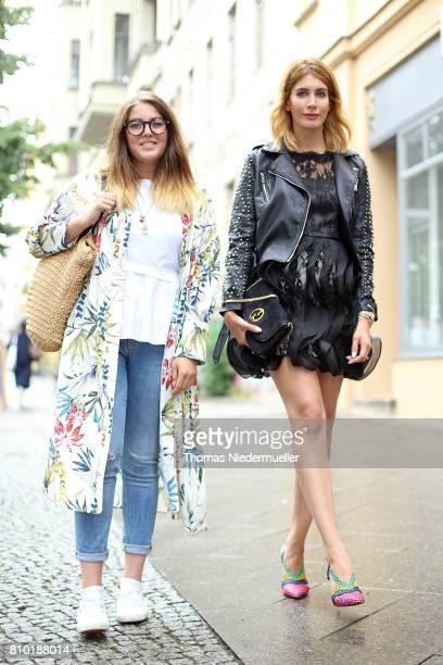 Fashion bloggers Marlies Hohlrieder and Victoria Scheu pose during the MercedesBenz Fashion Week Berlin Spring/Summer 2018 at Kaufhaus Jandorf on...