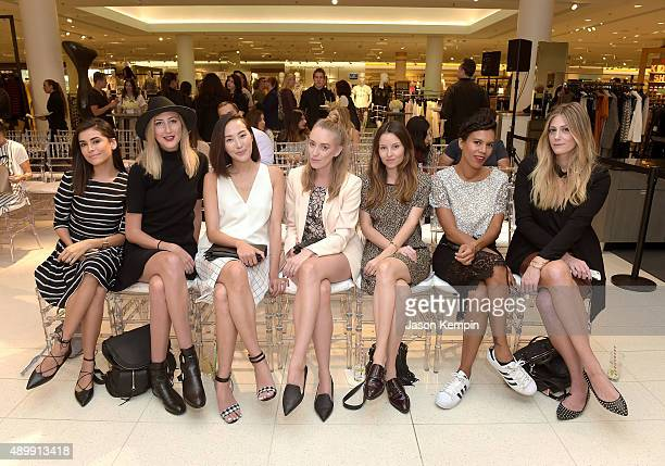 Fashion bloggers Sazan Barzani Carly Christman Chriselle Lim Kimberly Lapides Geri Hirsch Grasie Mercedes and Devon Rachel attend the Who What Wear...
