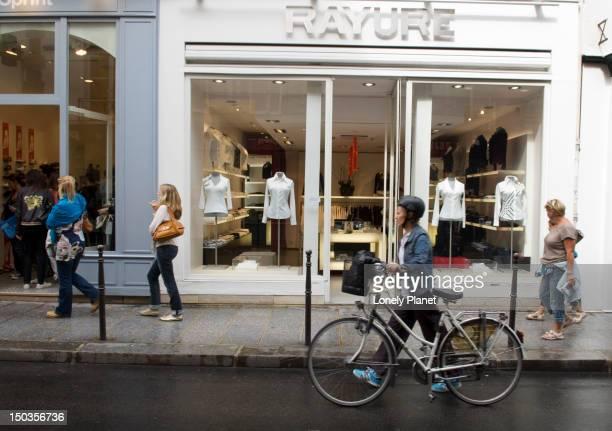 Fashion boutiques along Rue des Francs Bourgeois.