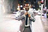 fashion businessman in the traffic in sydney